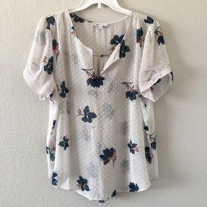 Dr2 Floral & spots short sleeve blouse